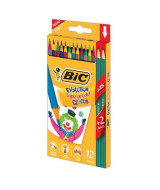 LAPICES DE COLOR BIC EVOLUTION CIRCUS CAJAx12un.+2 GRAF.-942