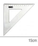 ESCUADRA GEO 45º CRISTAL 15cm.