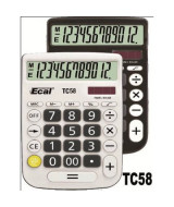 CALCULADORA ECAL TC58 12 DIG.MED.A PILA NEG-BCA