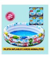 PILETA INFLABLE 3 AROS ANIMALITOS 25x90cmm. TP7831-1026N